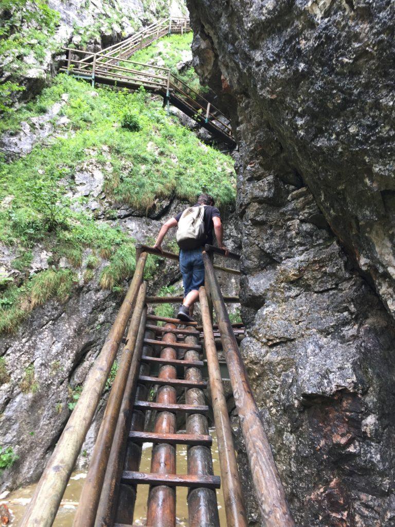 Robert hiking up towards the big waterfall
