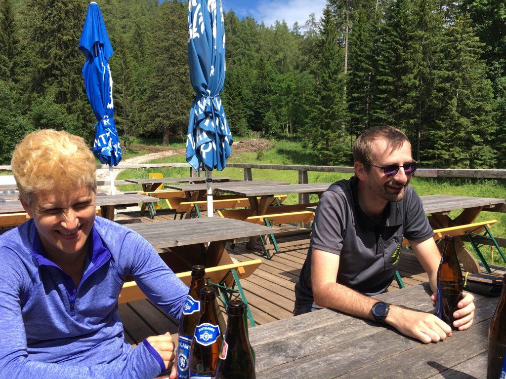 "Enjoying well-deserved refreshments at the ""Guter Hirte"""