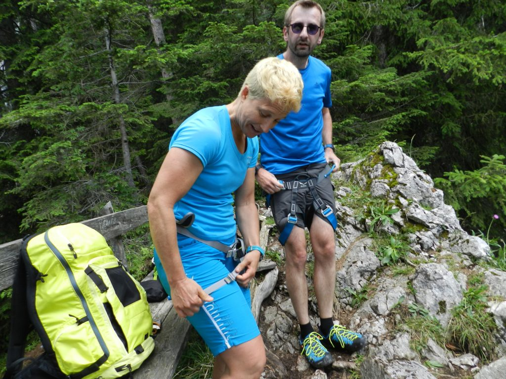 Nadja and Stefan putting on the ferrata set