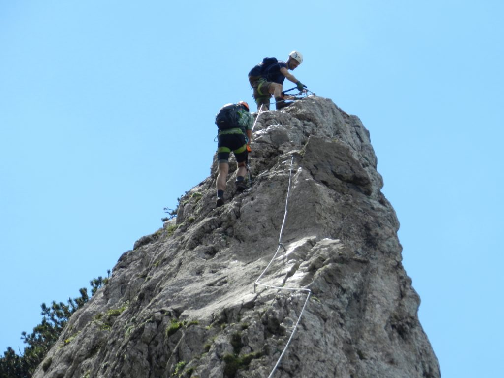 The crux, a slippery rock (D)