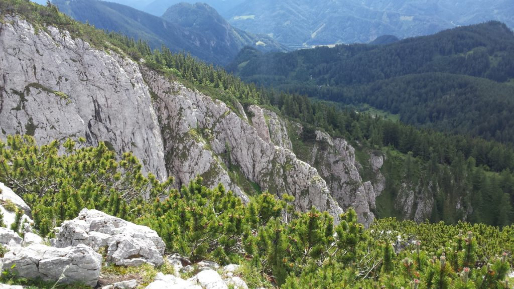 View towards the via ferrata from the peak