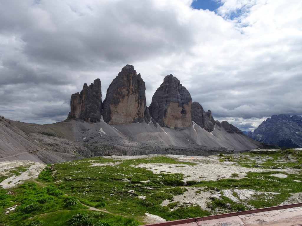 """The """"tre cime"""" seen from the hut"""