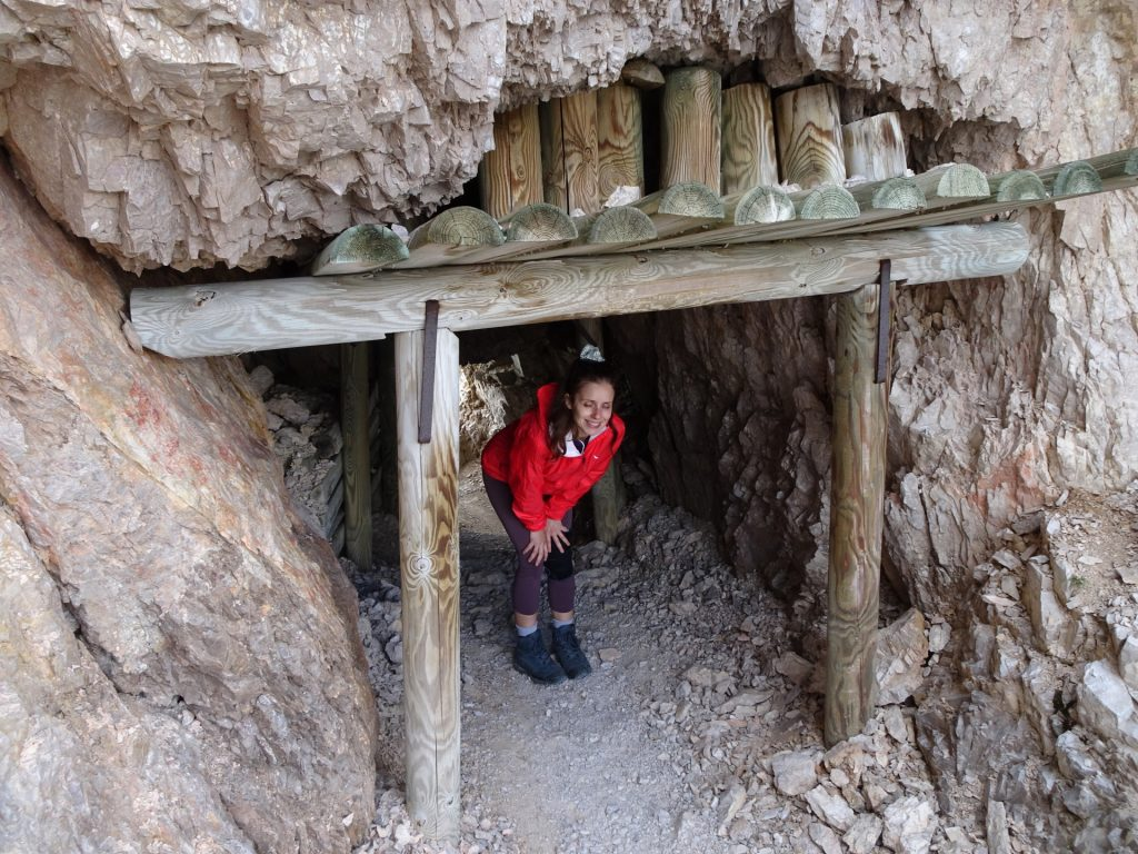 """Debora in one of the tunnels towards """"Paternkofel"""""""