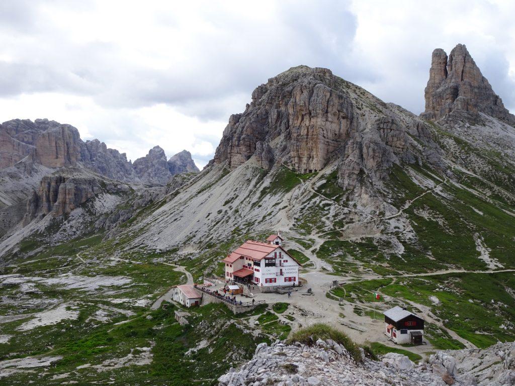 "View back towards the ""tre cime hut"""
