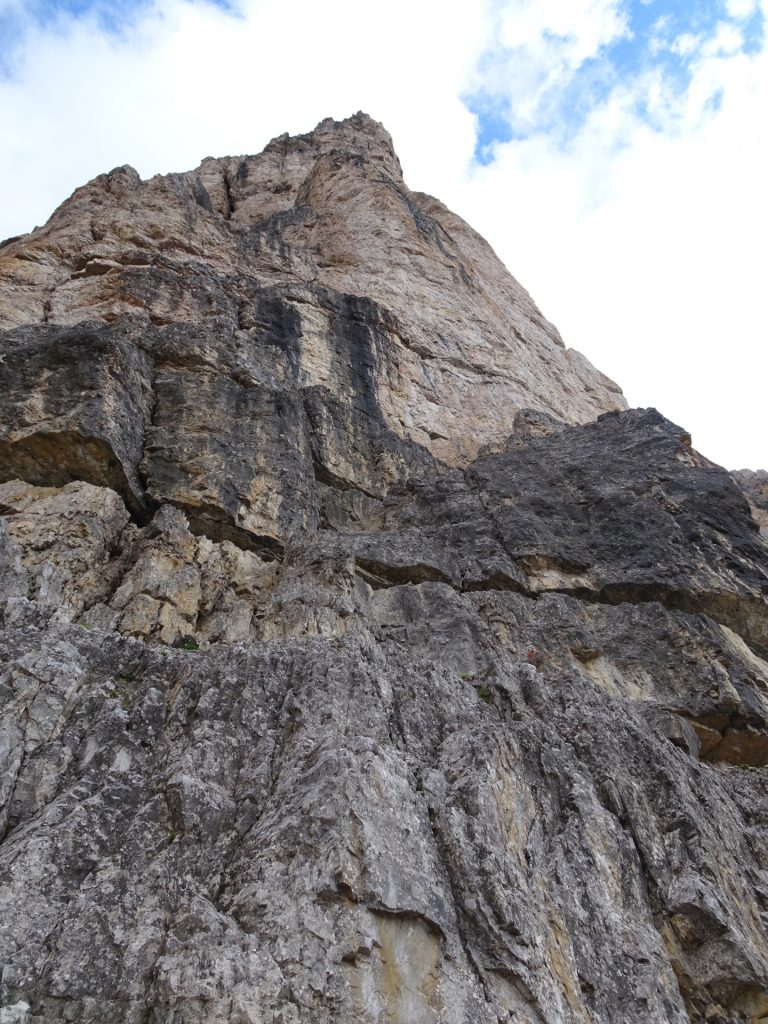 """Climbing up a bit on the first of the """"tre cime"""""""