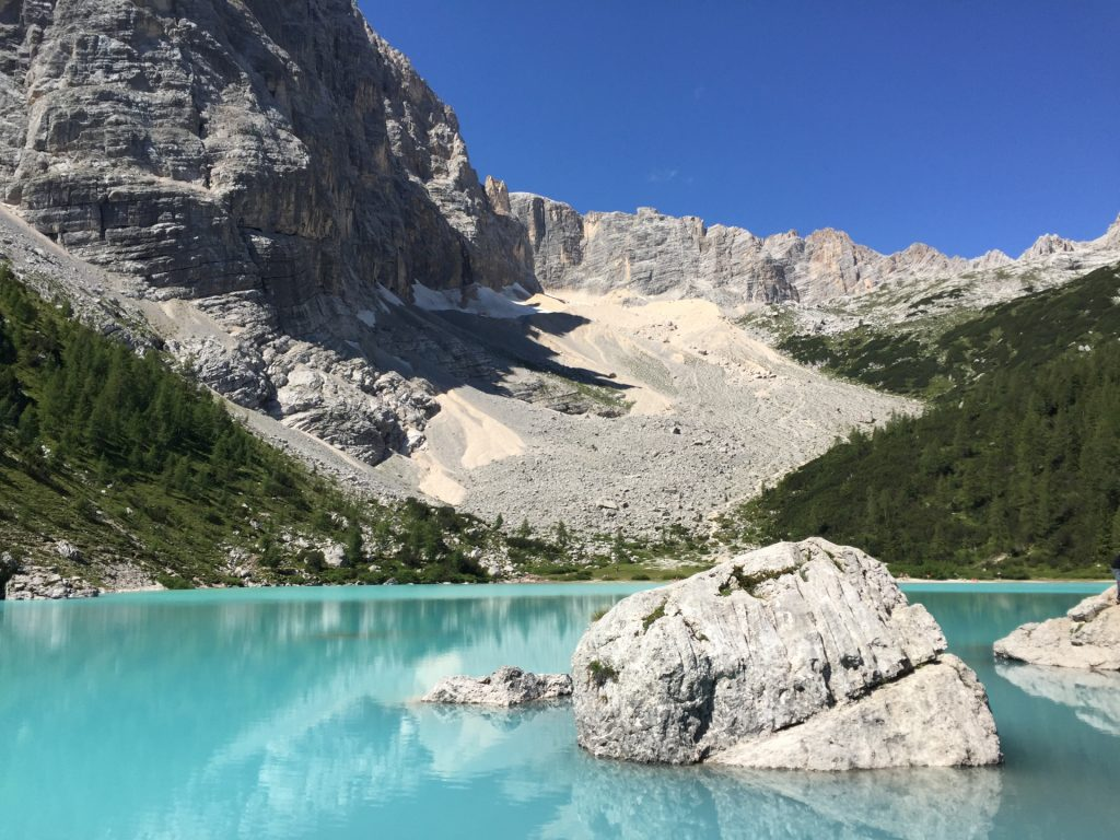 The lake in front of an amazing mountain landscape