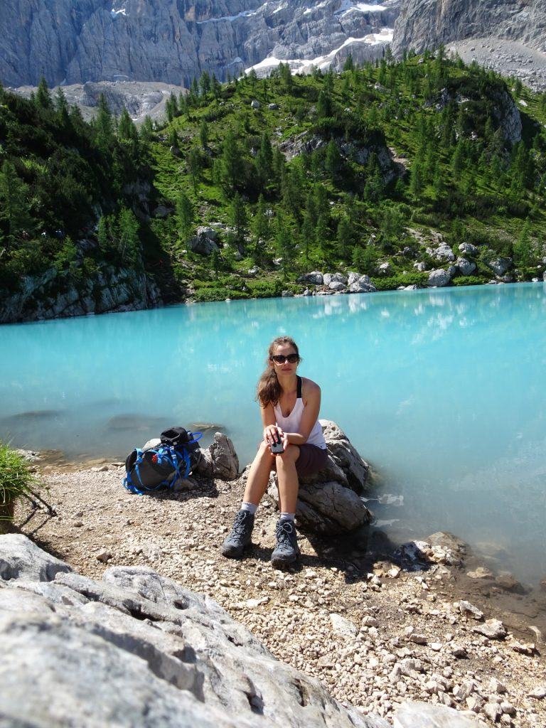 "Debora enjoys the impressions at the ""Sorapis lake"" (Largo del Sorapis)"