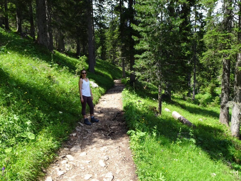 Debora enjoys the hike in stunning green nature