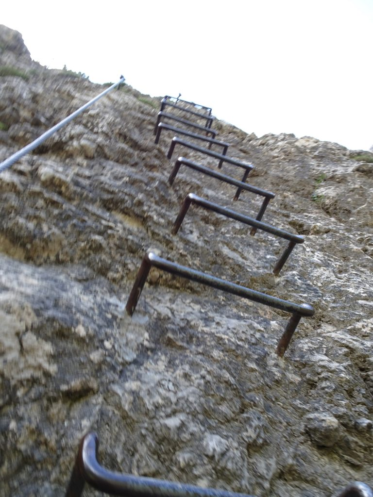Metal rungs make the ascent easy (B)