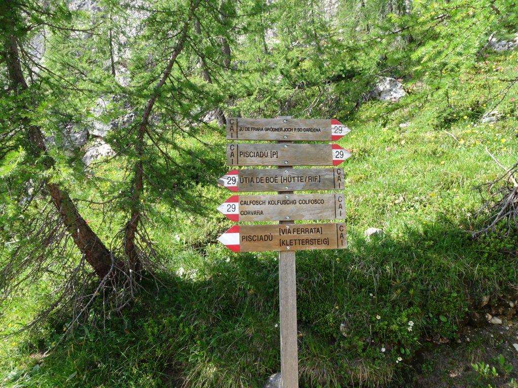 "Follow the trail ""29"" towards ""Pisciadù Via Ferrata"""