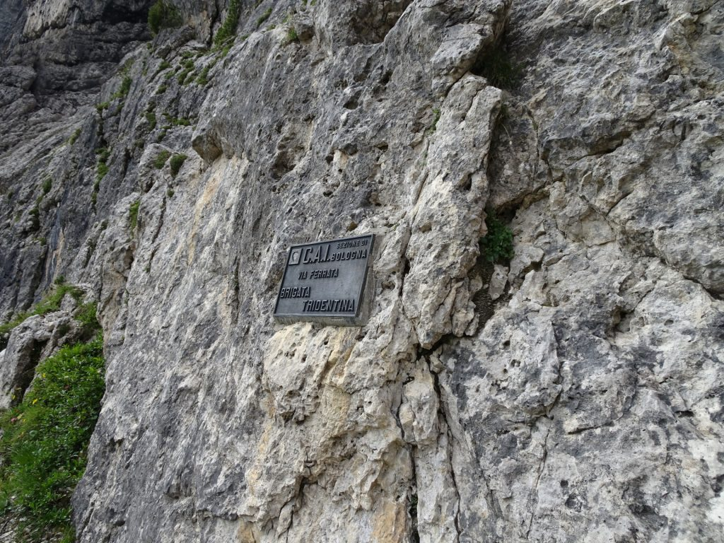 Sign marking the start of the second part of the via ferrata (B/C)