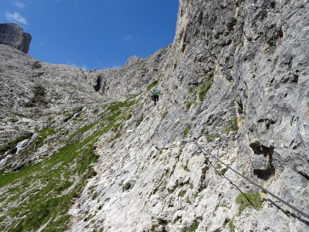 At the start of the third and final part of the ferrata (upper route: demanding C!)