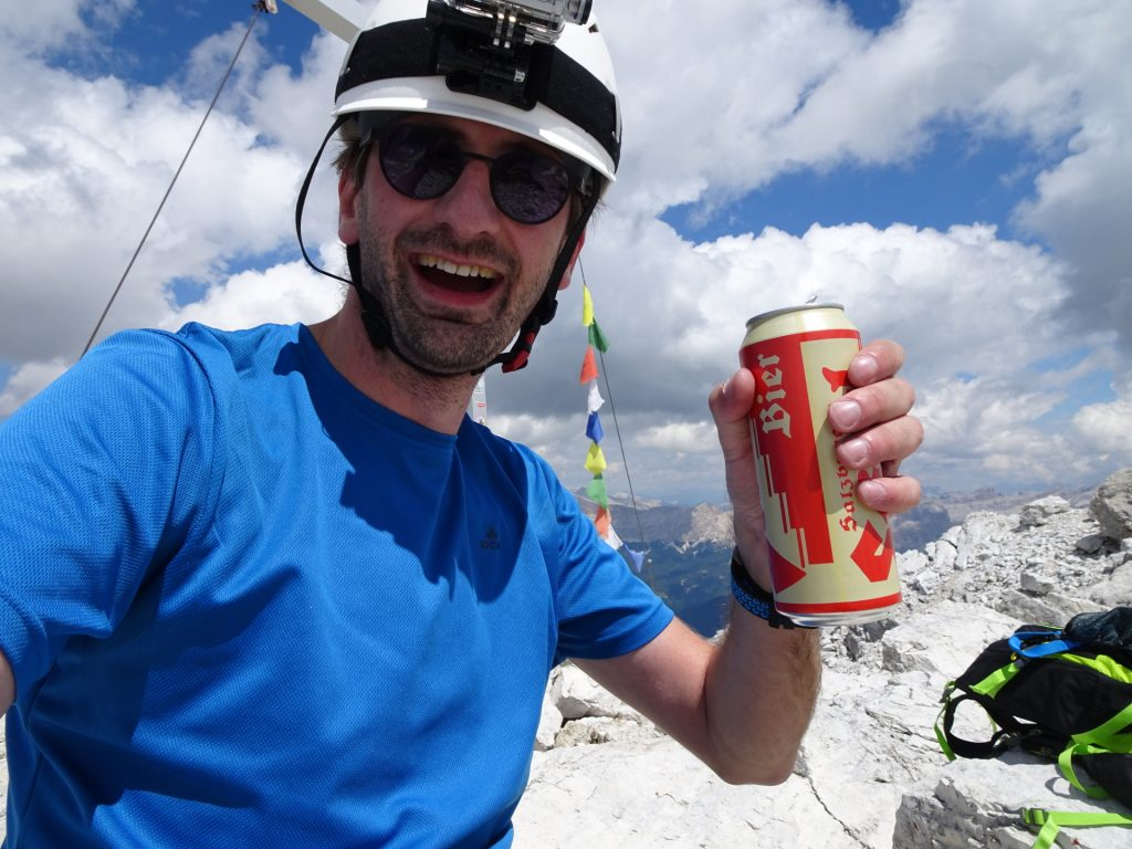 Enjoying a well-deserved refreshment at 2983 meters above sea-level
