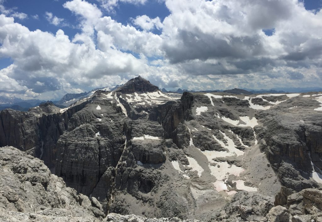 Stunning view from Pisciadù towards Piz Boé