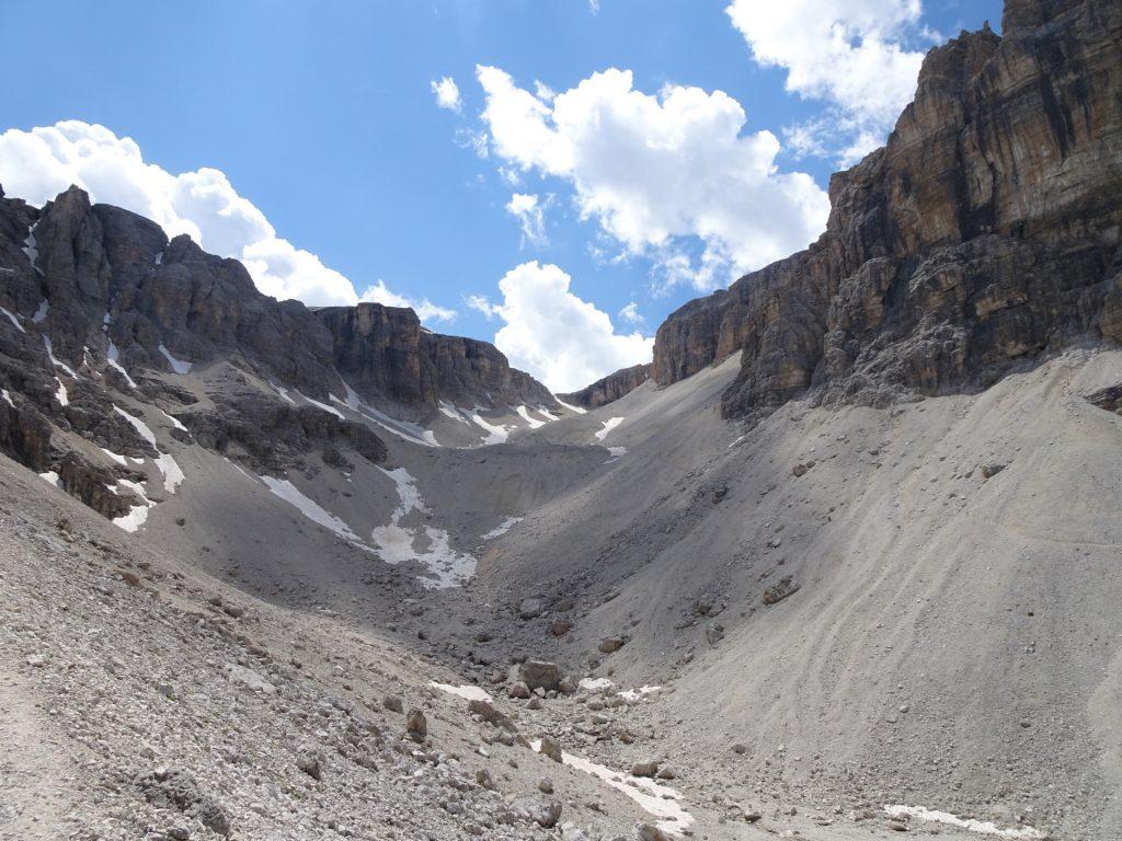 """View back towards the valley between """"Sas da Lech"""" and """"Pisciadù"""""""