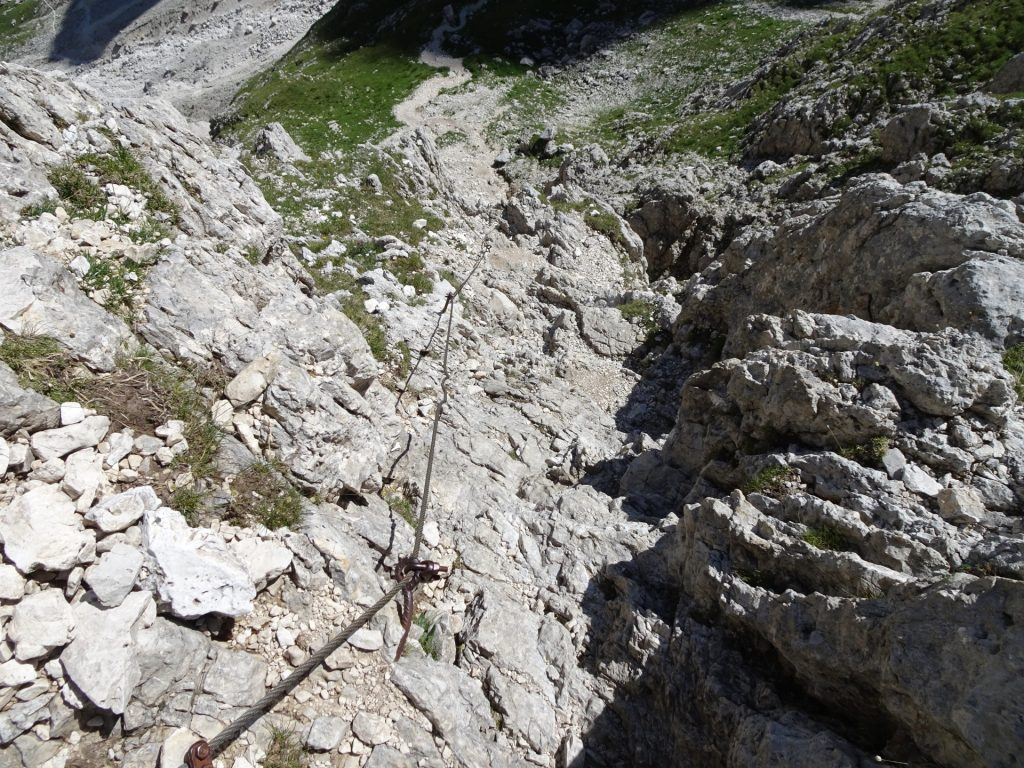 Also the descent is rather steep and a via ferrata
