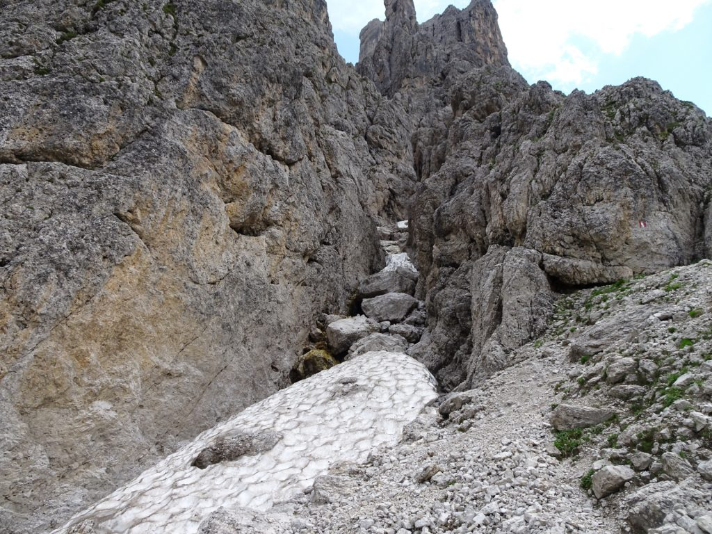 Impressive rocks and snow fields in late July