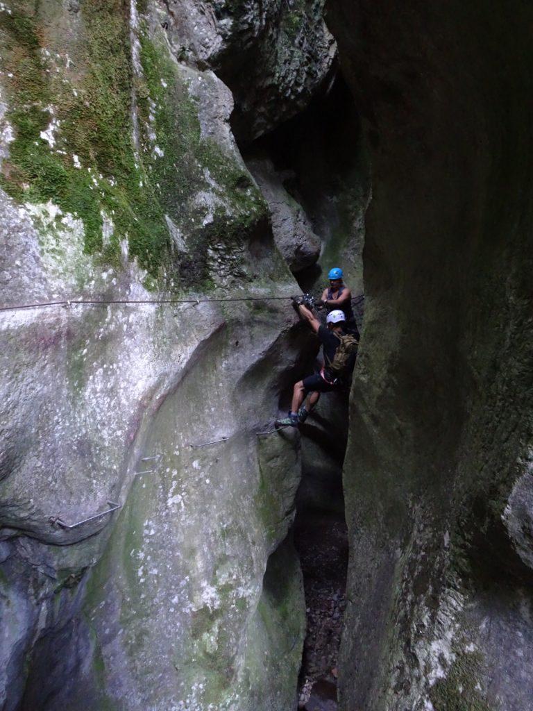 Demanding traverse (C) because it is overhanging!