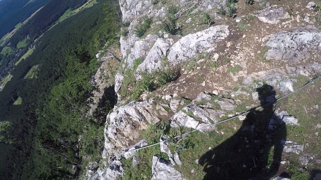 Steirerspur: Entrance of the via ferrata (downwards)