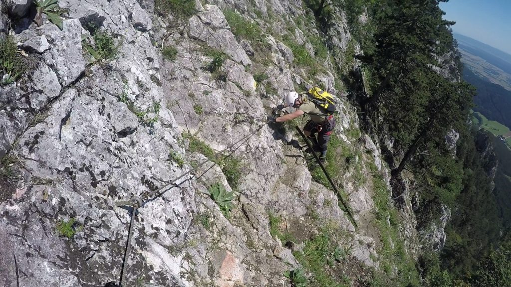 Wagnersteig: Robert on one of the many ladders on Wagnersteig