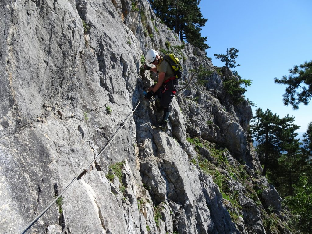 Steirerspur: Robert at the exposed traverse (B/C, C)