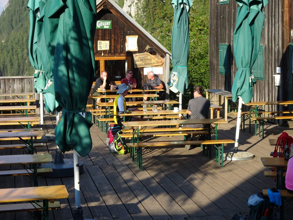 "A short refreshing break at ""Steirischer Jokl"" before continuing the tour (between the two huts)"
