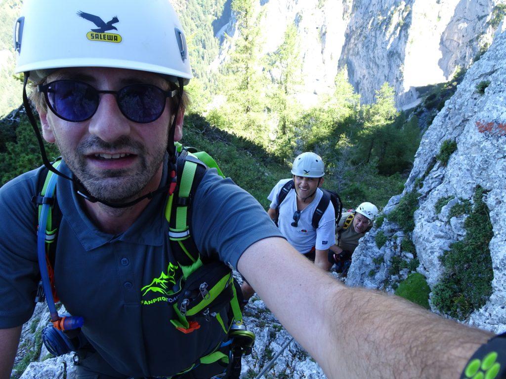Stefan, Bernhard and Robert are climbing