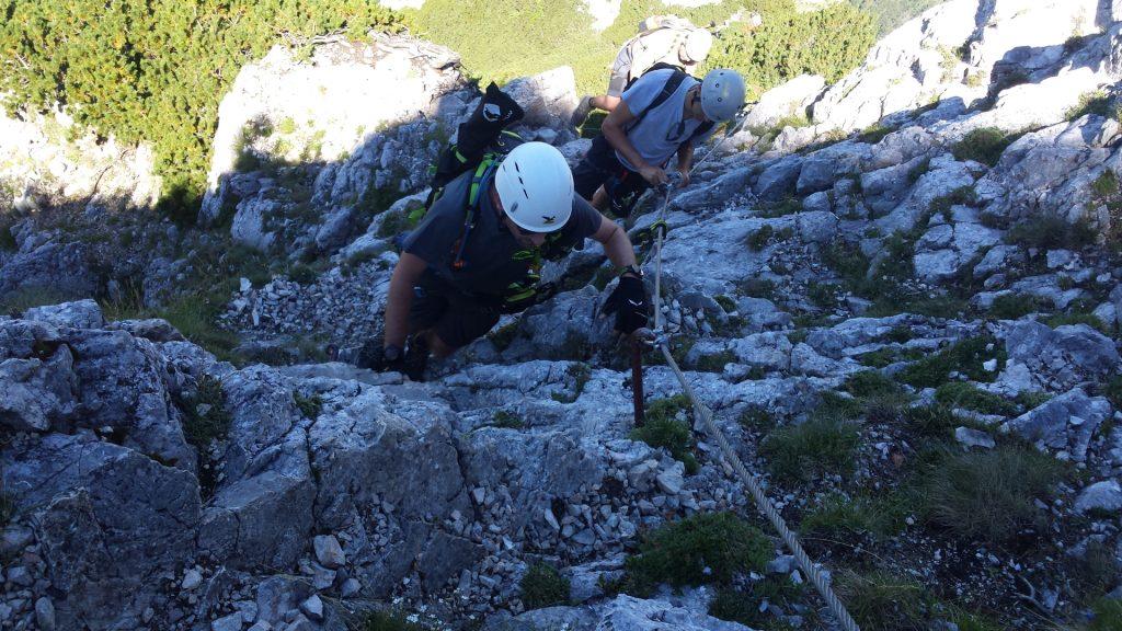 Stefan, Bernhard and Robert are climbing up the Wildfährte