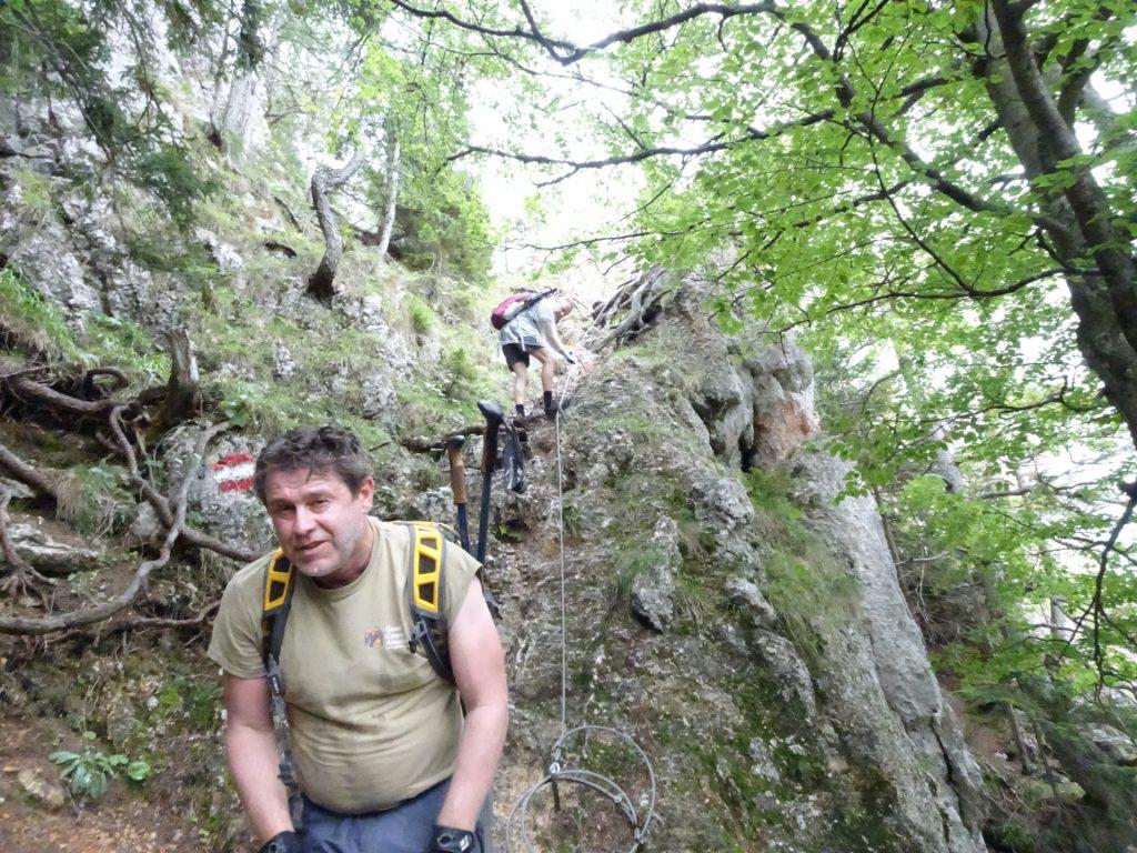 Robert and Herbert at a steeper part of Peter Jokel Steig