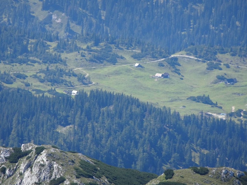 """The """"Sonnschienalm"""" seen in far distance from the trail"""