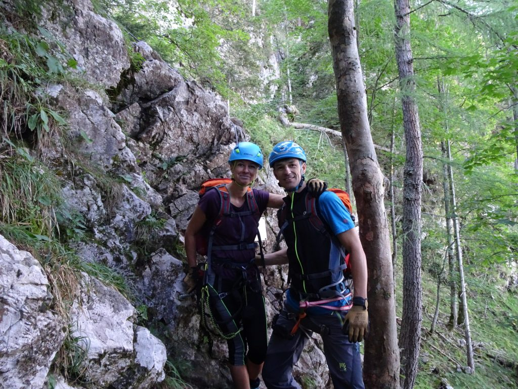 Marion and Thomas at the start of the via ferrata