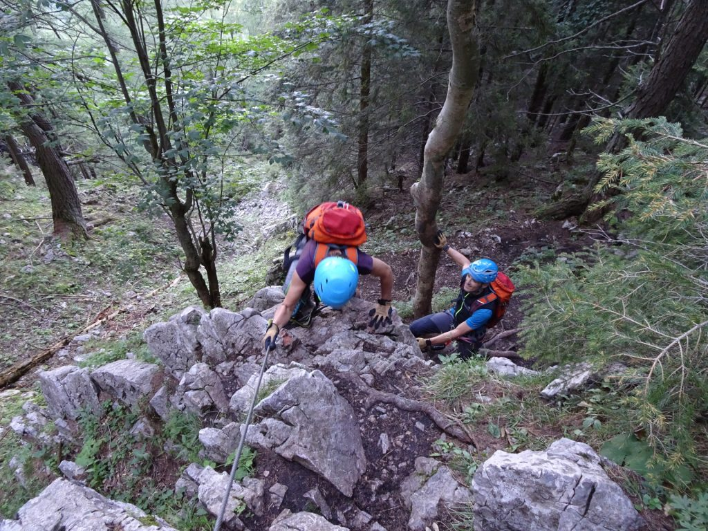 Marion and Thomas on the first few meters on the via ferrata