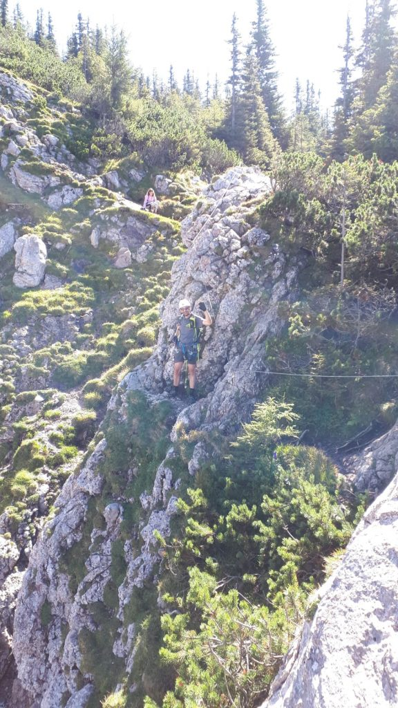 Stefan is waiting at the exit of the via ferrata