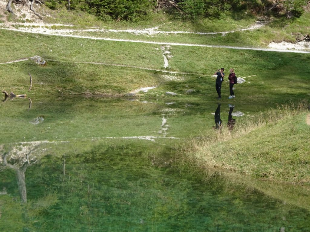 """Amazing mirror effect of the flat surface of """"Grüner See"""""""