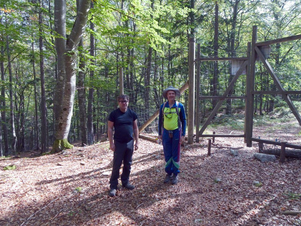 Robert and Herbert behind the gate
