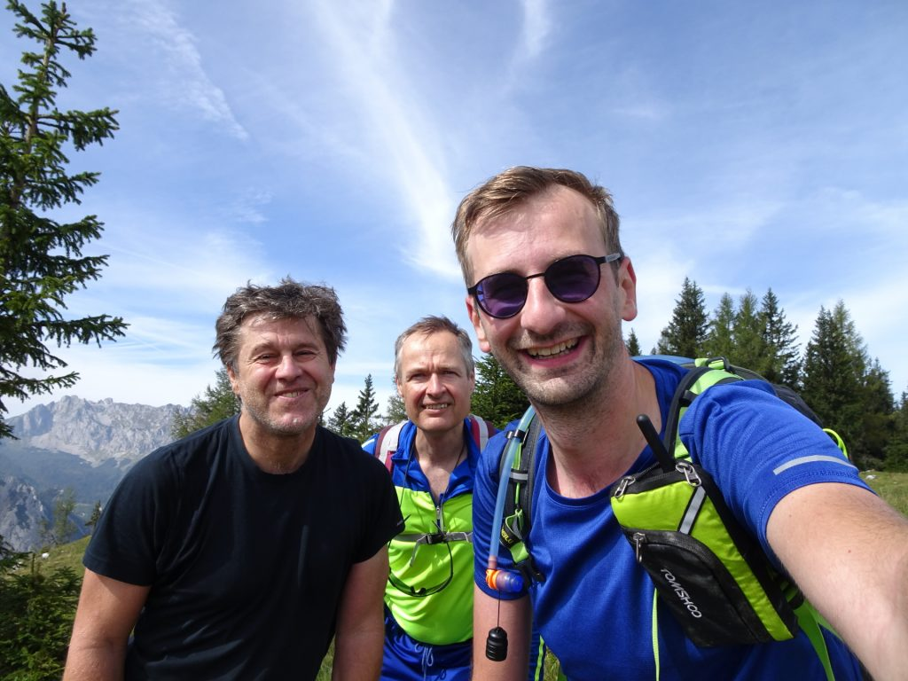 "Robert, Herbert and Stefan at the summit of ""Pribitz"""