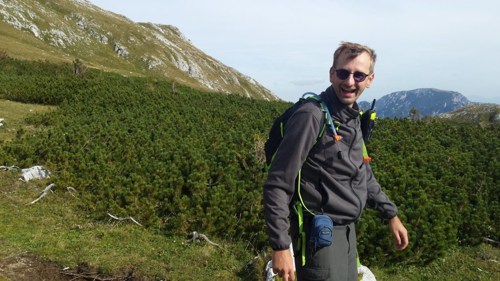 """Stefan hiking back to the """"Sonnschienalm"""""""