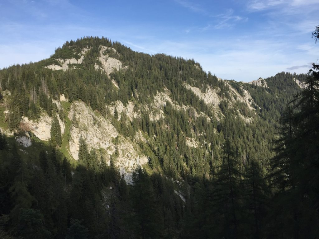 """View from the trail downwards towards """"Klammboden"""""""