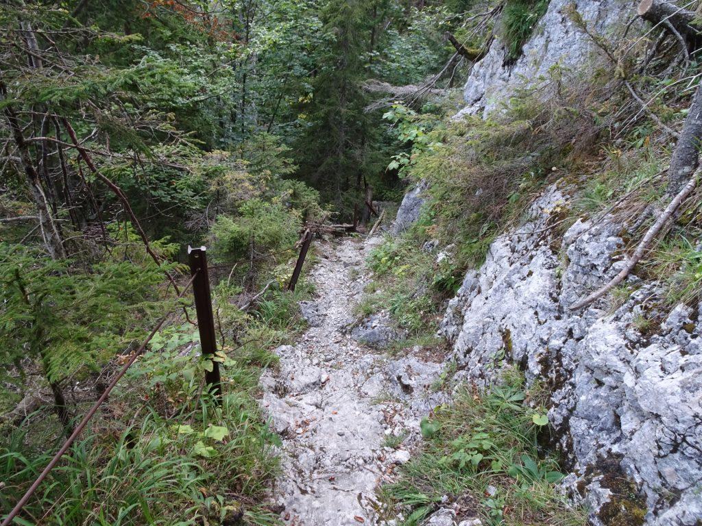 """Short via ferrata (A) at the upper end of """"Klammboden"""""""