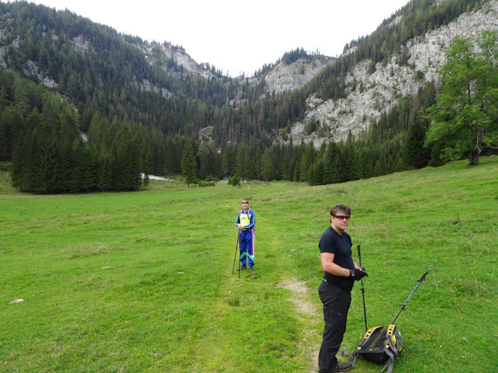 "Robert and Herbert at the upper ""Klammboden"" (view back from descent)"