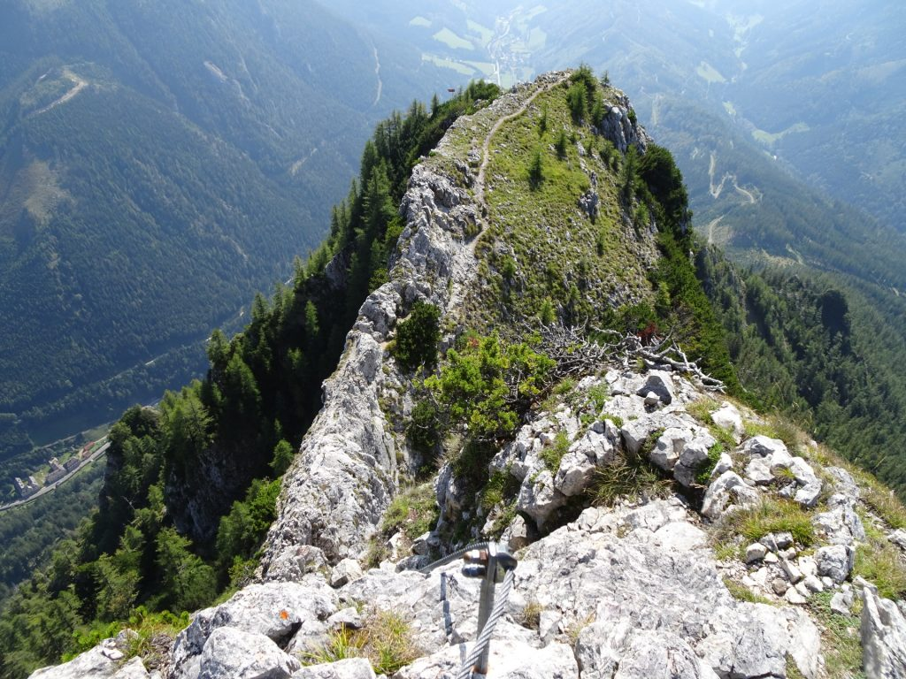 """View back after mastering the first crux to \""""Fahnenköpfl\"""""""
