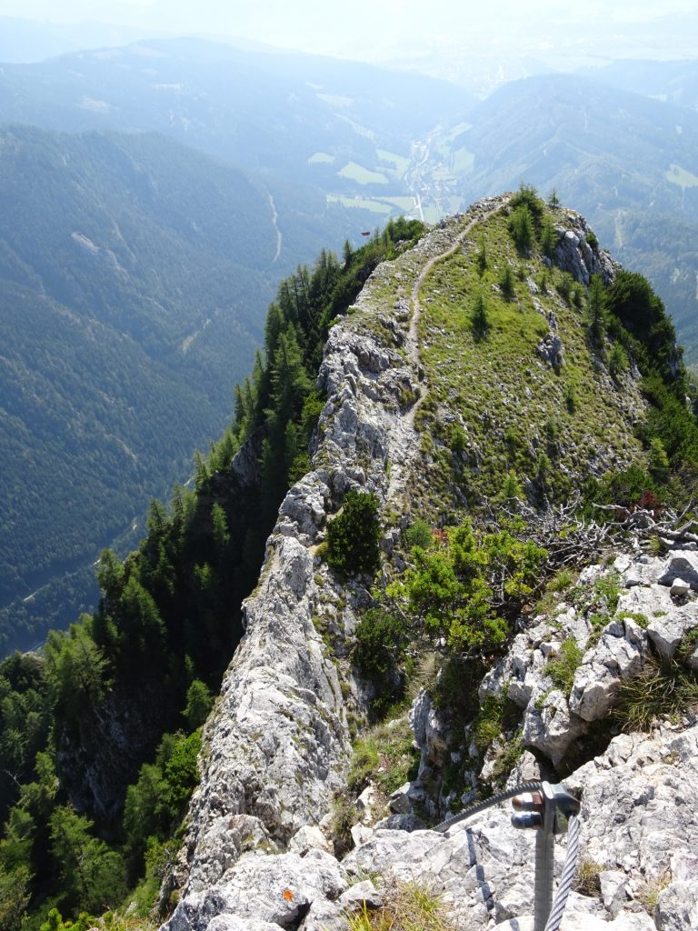 """View back after mastering the first crux to """"Fahnenköpfl"""""""