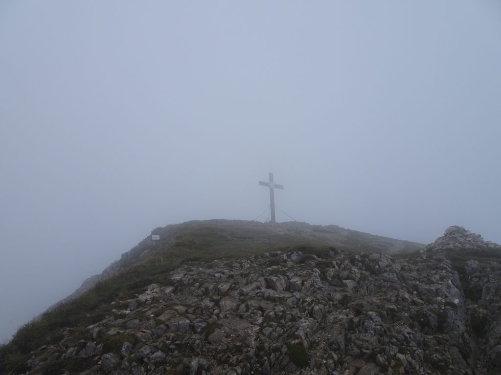 "Reaching the summit cross of ""Eisenerzer Reichenstein"" with no view at all :("