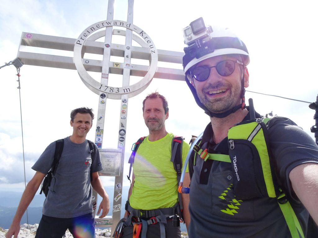 Bernhard, Hans and Stefan at the summit (Preiner Wand)