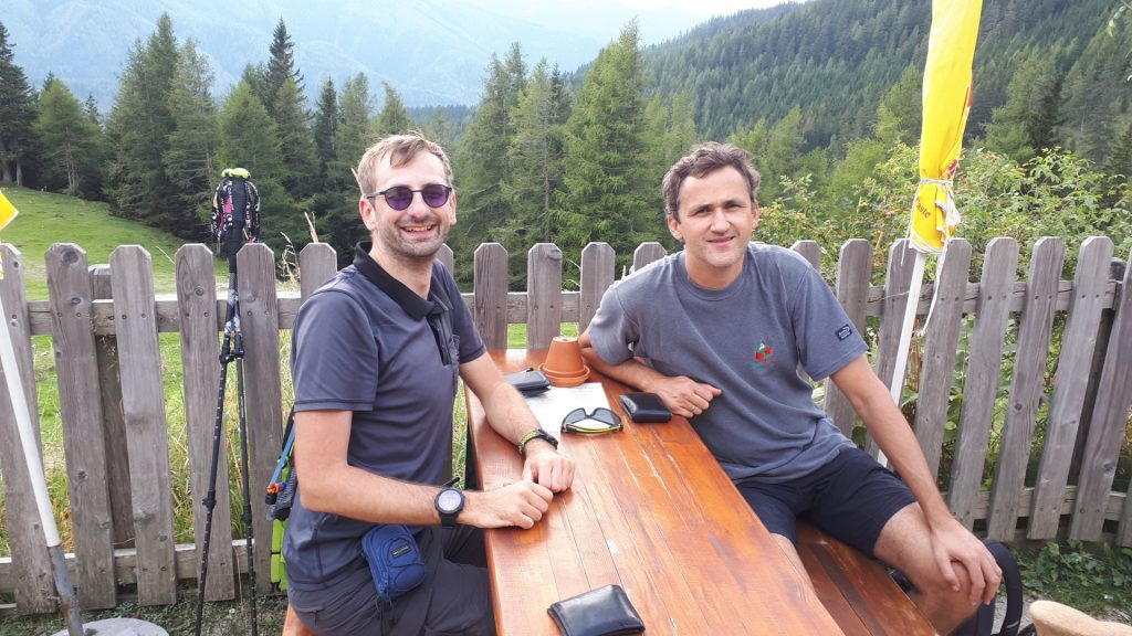 Stefan and Bernhard waiting for refreshments at the Waxriegelhaus