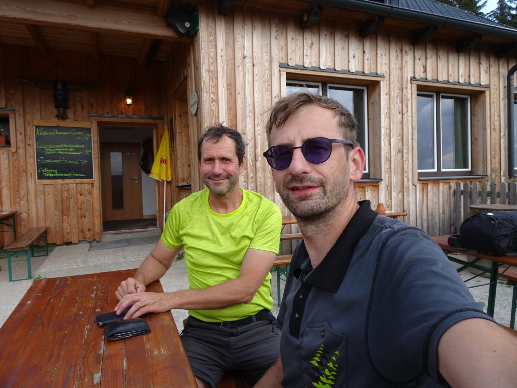 Hans and Stefan waiting for refreshments at the Waxriegelhaus
