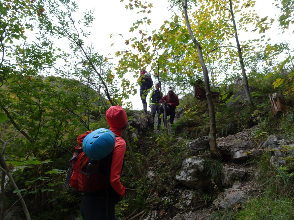 Hiking up the first meters