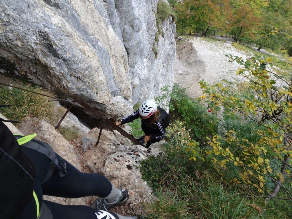 """On the iron ladder of """"AV-Steig"""""""