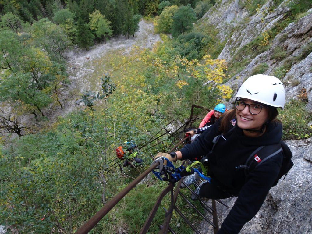 """On the second iron ladder of """"AV-Steig"""""""