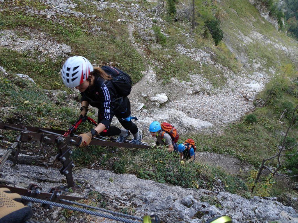 "Climbing up the long ladder towards the ""Elsa Rast"""